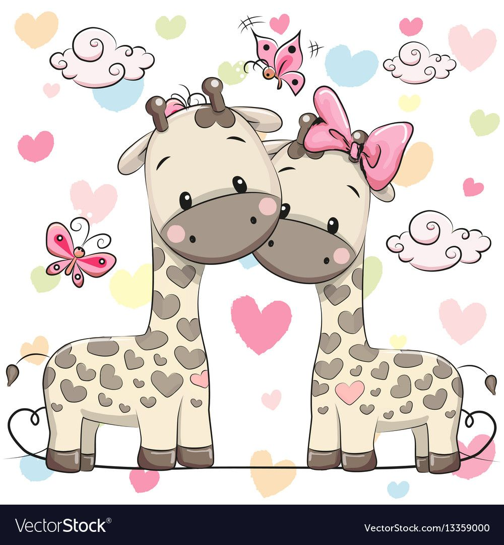 Two Cute Giraffes Vector Image On Animales De Dibujos Animados