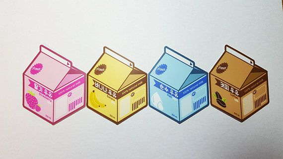 Aesthetic Korea Milk Carton Vinyl Laptop Stickers Strawberry Etsy Aesthetic Korea Milk Drawing Milk Carton