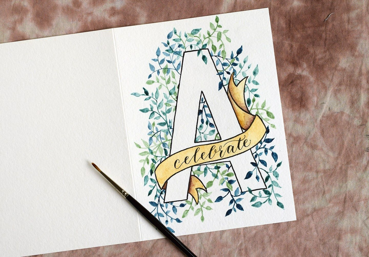 Watercolor Initial Diy Birthday Card Tutorial Watercolor