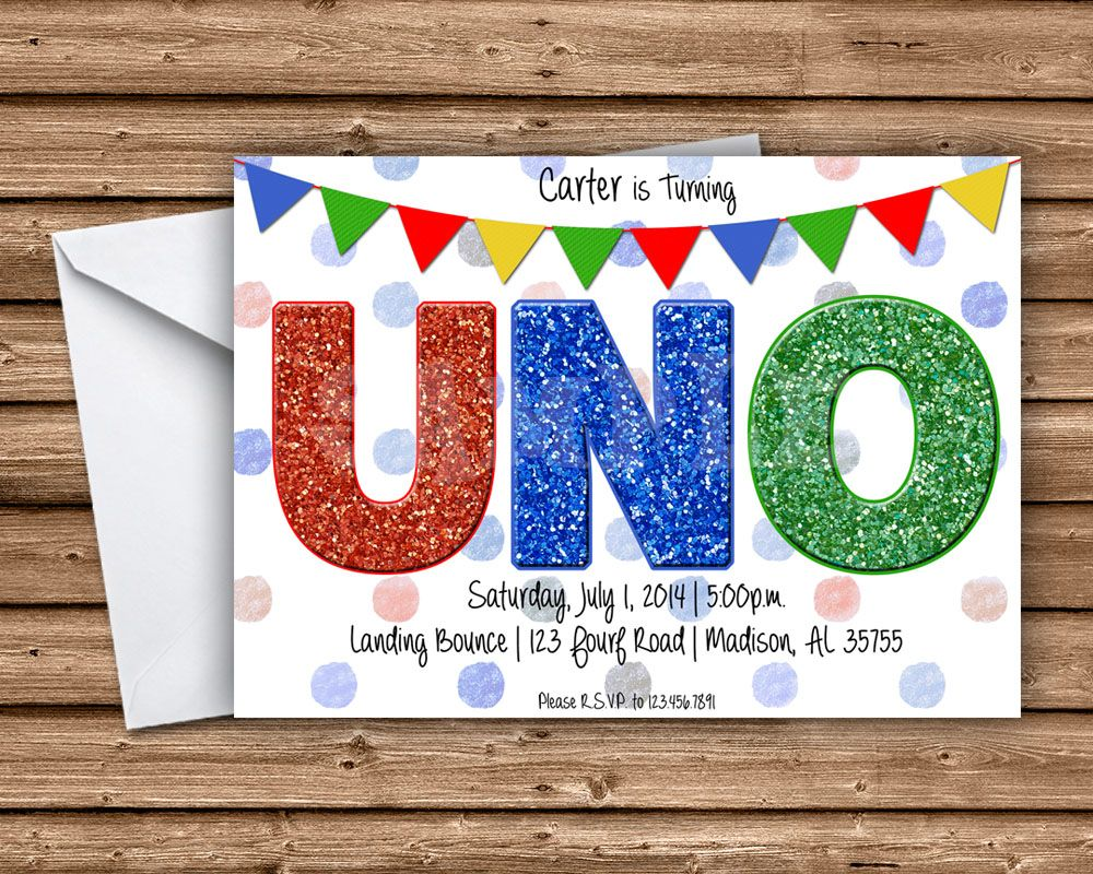* First Birthday UNO Invitations     * 4x6 or 5x7 Flat Card     * Printed 4-Color Process on One side     * Printed on 100lb gloss cover stock     * Bright White Envelopes Are Included