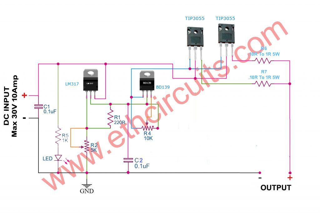 0 30v Variable Power Supply Circuit Diagram At 3a Eleccircuit Com Power Supply Circuit Circuit Diagram Power Supply Design