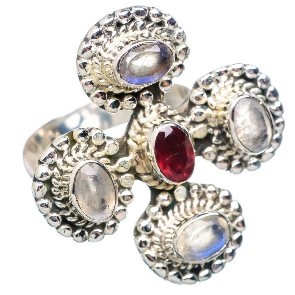 Large Rainbow Moonstone, Garnet 925 Sterling Silver Ring Size 7.5 RING696036