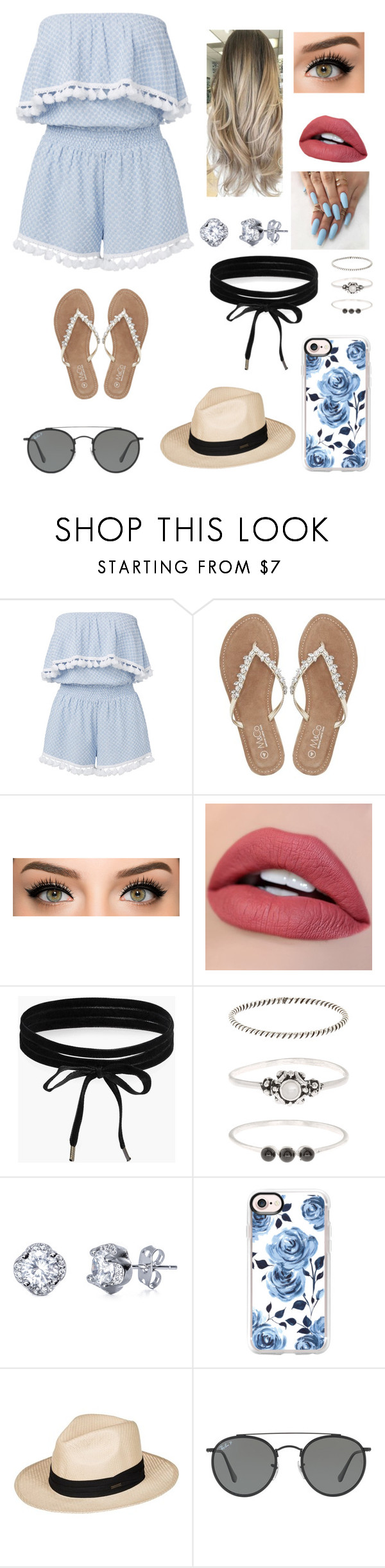 """""""Summer!"""" by lovepink5247 ❤ liked on Polyvore featuring M&Co, Boohoo, Accessorize, Casetify, Roxy and Ray-Ban"""
