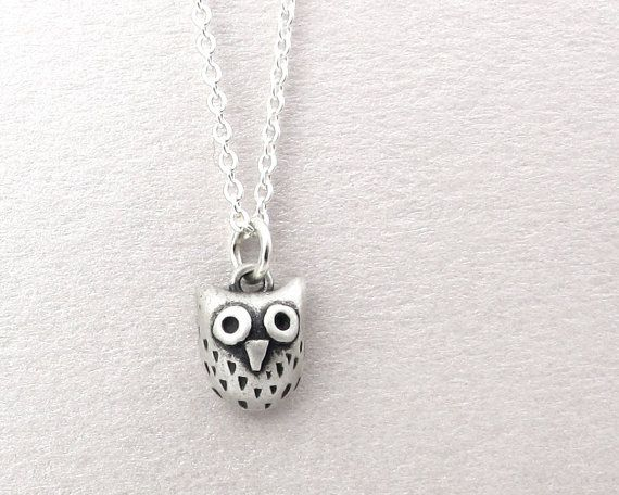 Very tiny owl necklace silver handmade jewelry small owl pendant very tiny owl necklace silver handmade jewelry small owl pendant eco friendly aloadofball Image collections