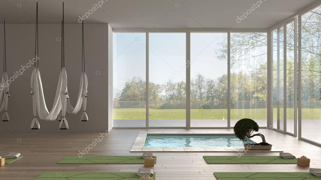 Empty Yoga Studio Interior Design Minimal Open Space With Mats