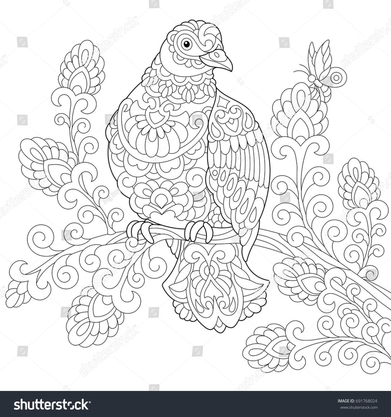 Coloring page of dove pigeon bird freehand sketch drawing for adult antistress colouring book with doodle and zentangle elements