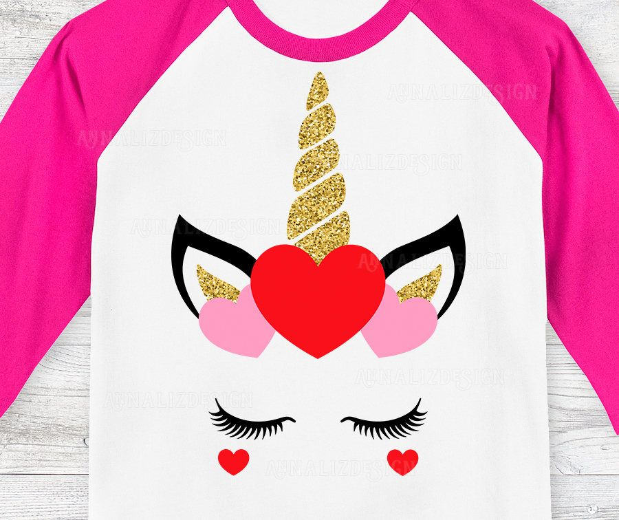 Unicorn Face Svg Valentine Unicorn Svg Eyelashes Svg Gold Unicorn