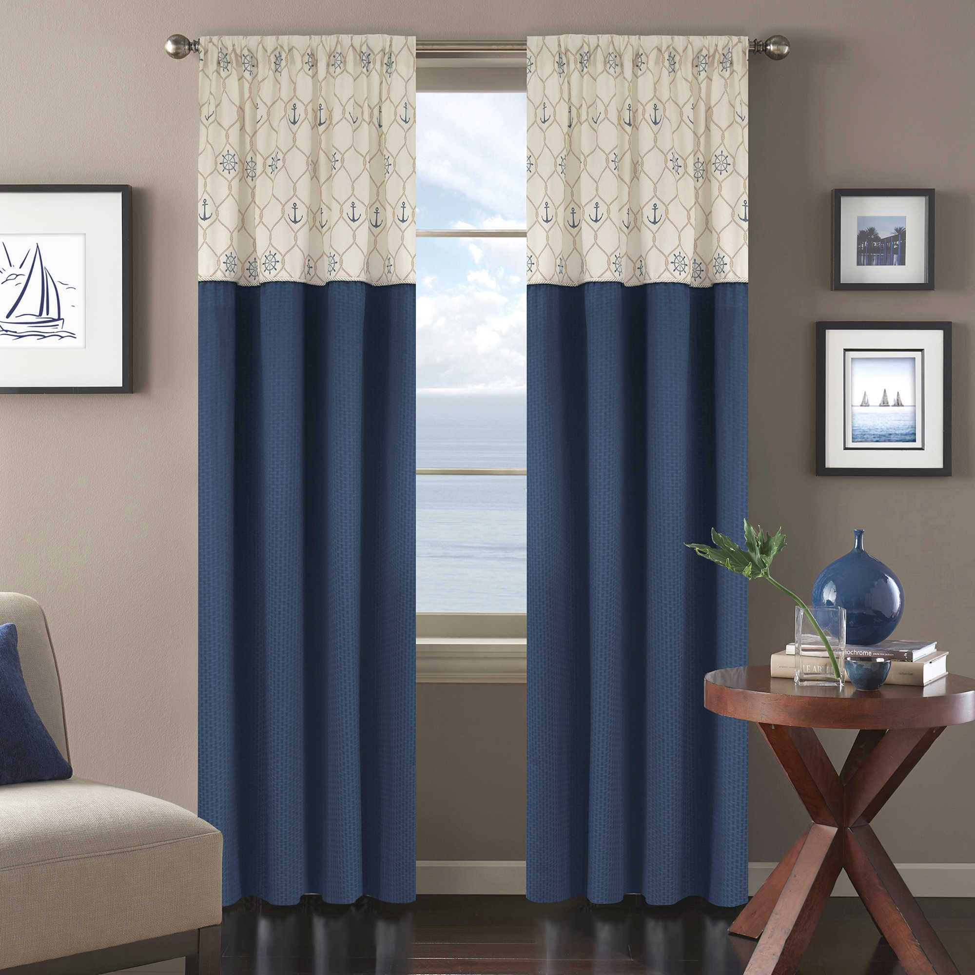Bed bath and beyond window curtains  sailing away inch window panel in blue  living room ideas