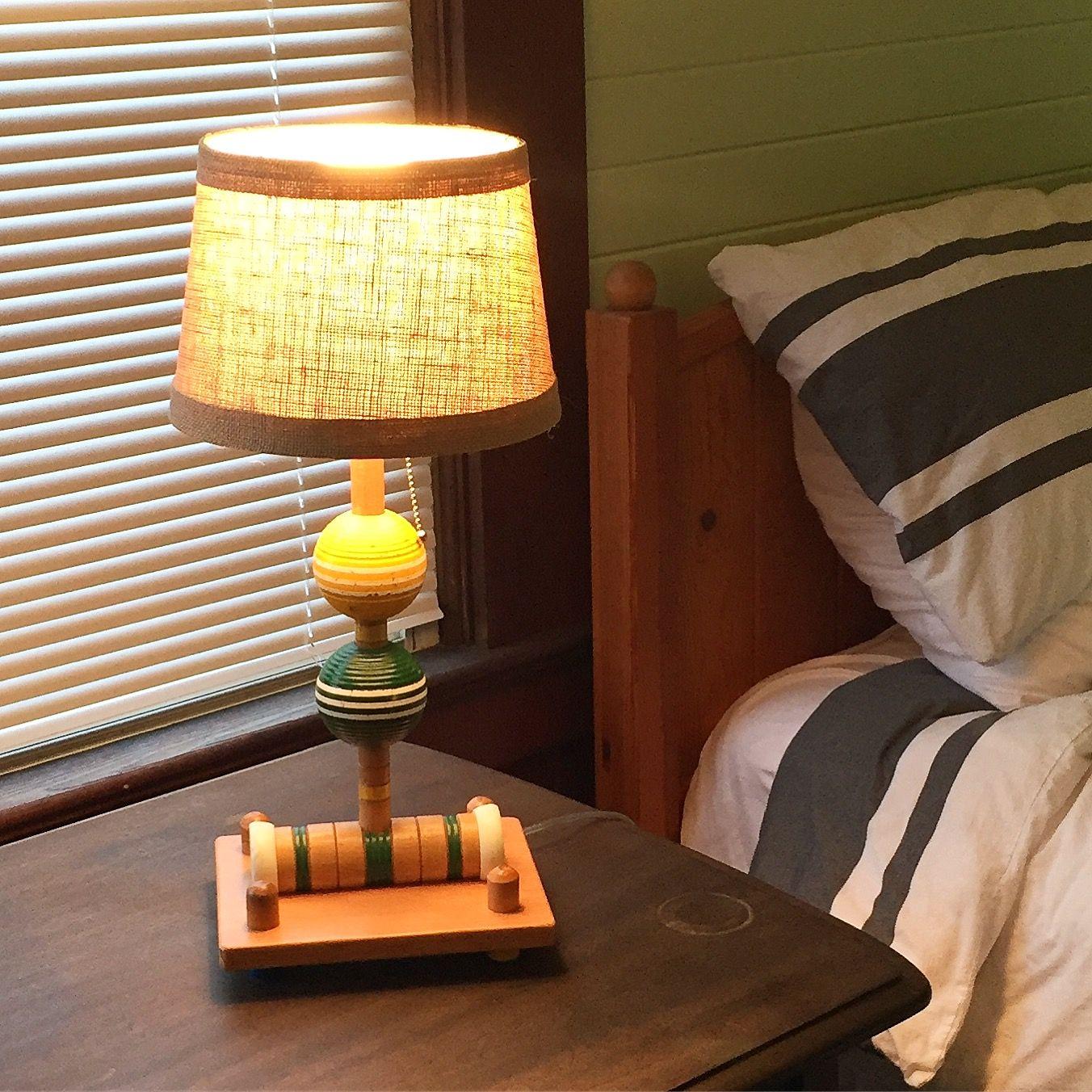 Repurposed croquet set as table lamp. Diy light fixtures