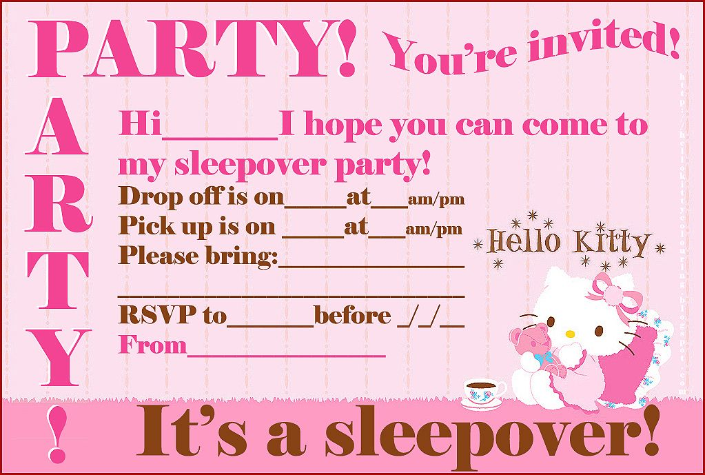 hello kitty coloring free hello kitty printable sleepover party invites