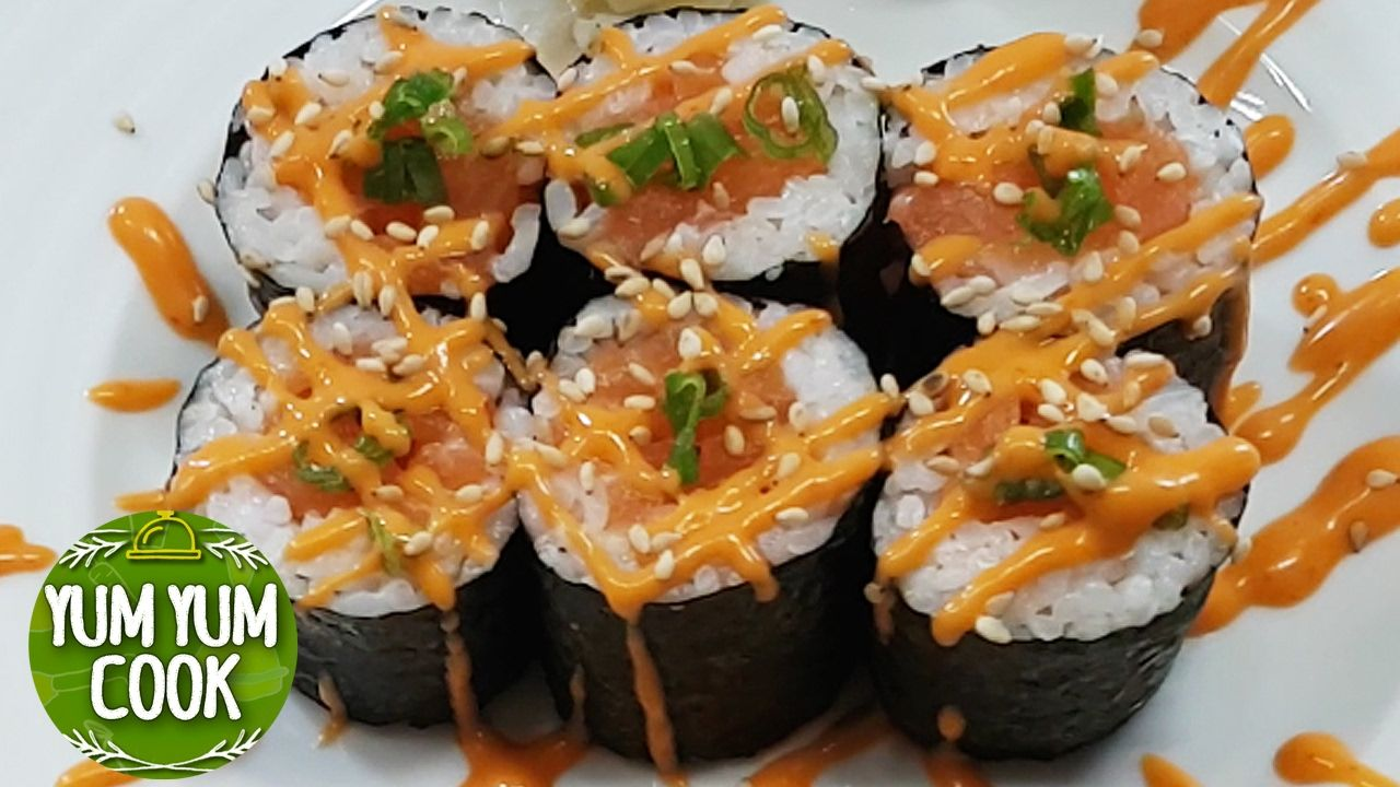 Salmon sushi roll how to make sushi at home spicy salmon