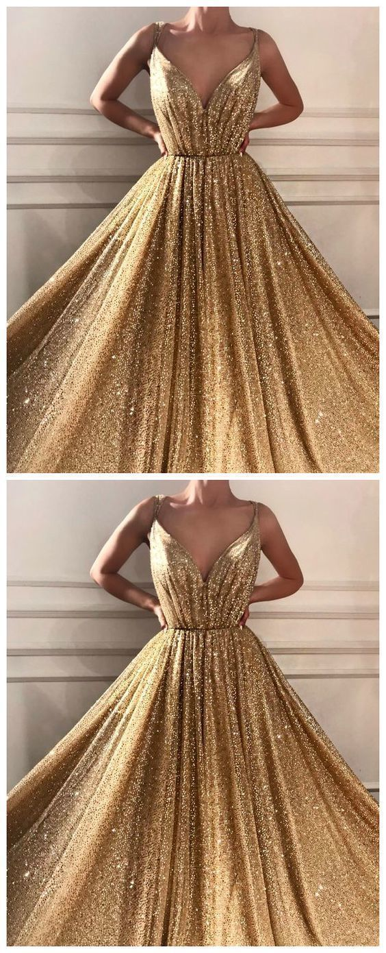 Princess Prom Dress With Sequins Floor-Length Gold Quinceanera Dresses -   19 dress Quinceanera gold ideas