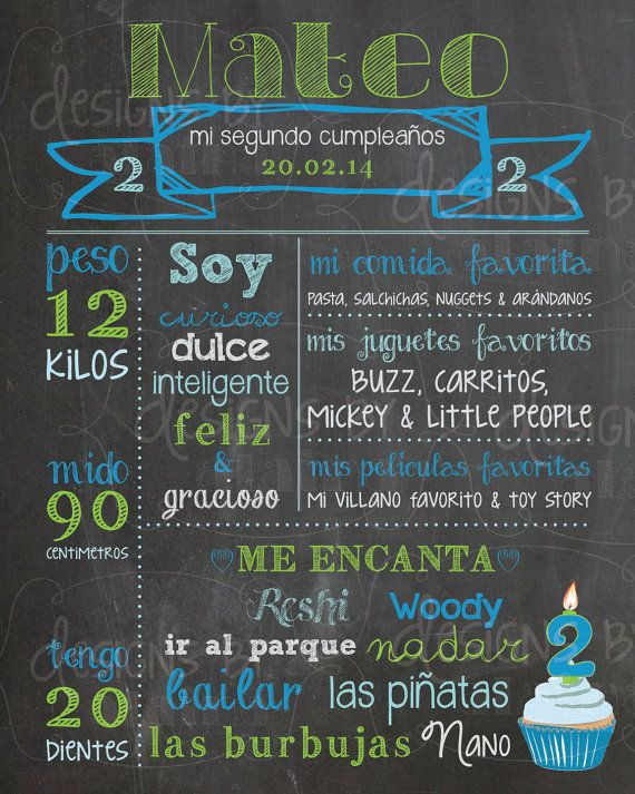 This listing is for my custom Chalkboard Birthday Memory poster in Spanish! May be designed for either a girl or boy, any birthday! Colors are