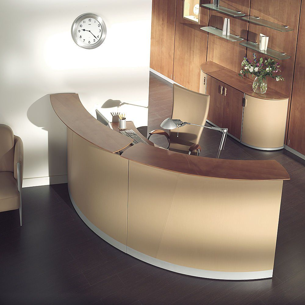 The funky reception desk of an office is the letter of introduction