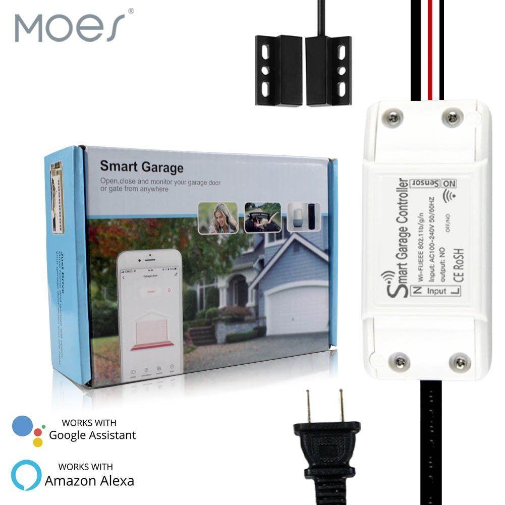 Wifi Smart Garage Door Controller Opener Smart Life Tuya App Remote Compatible With Alexa Echo Google Home No Hu App Remote Garage Door Controller Wifi Gadgets