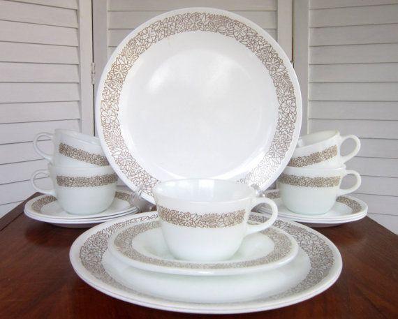 Vintage Corelle Woodland Brown Dinnerware Set by CedarRunVintage ...