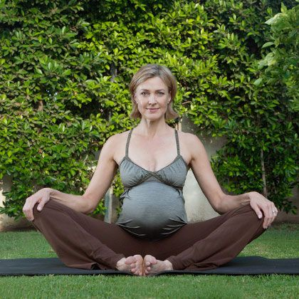 brenda strong in the cobbler's pose  birth boobs and