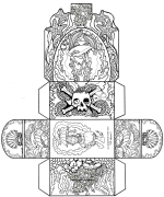 Pirates Chest paper craft. Print, color, and fold for an