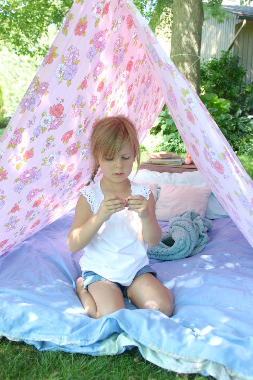 Simple Bed Sheet Tent Sheet tent, Outdoor activities for
