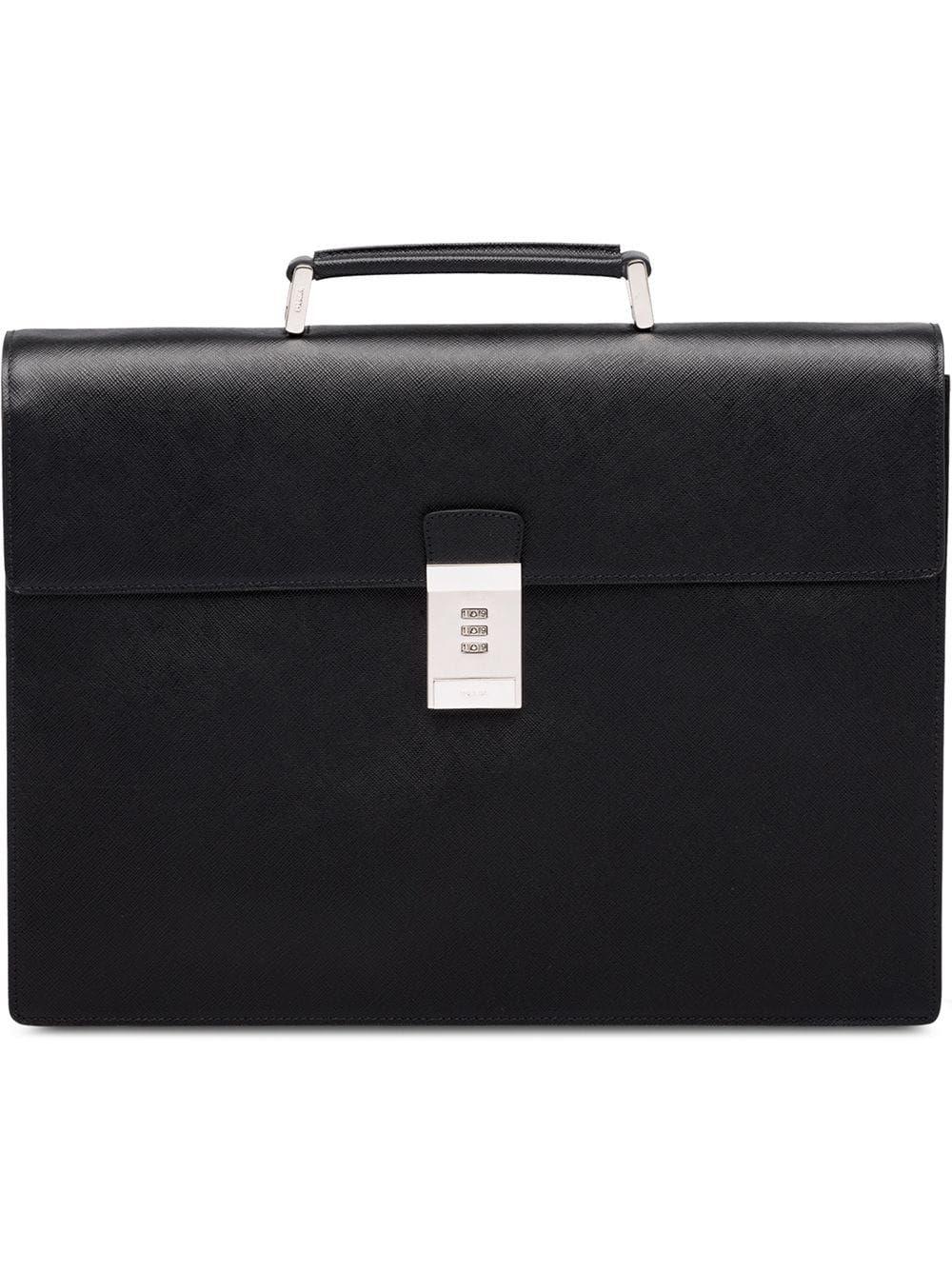 e08279e2e8e3 PRADA PRADA CODE LOCK BRIEFCASE - BLACK. #prada #bags #leather #hand bags