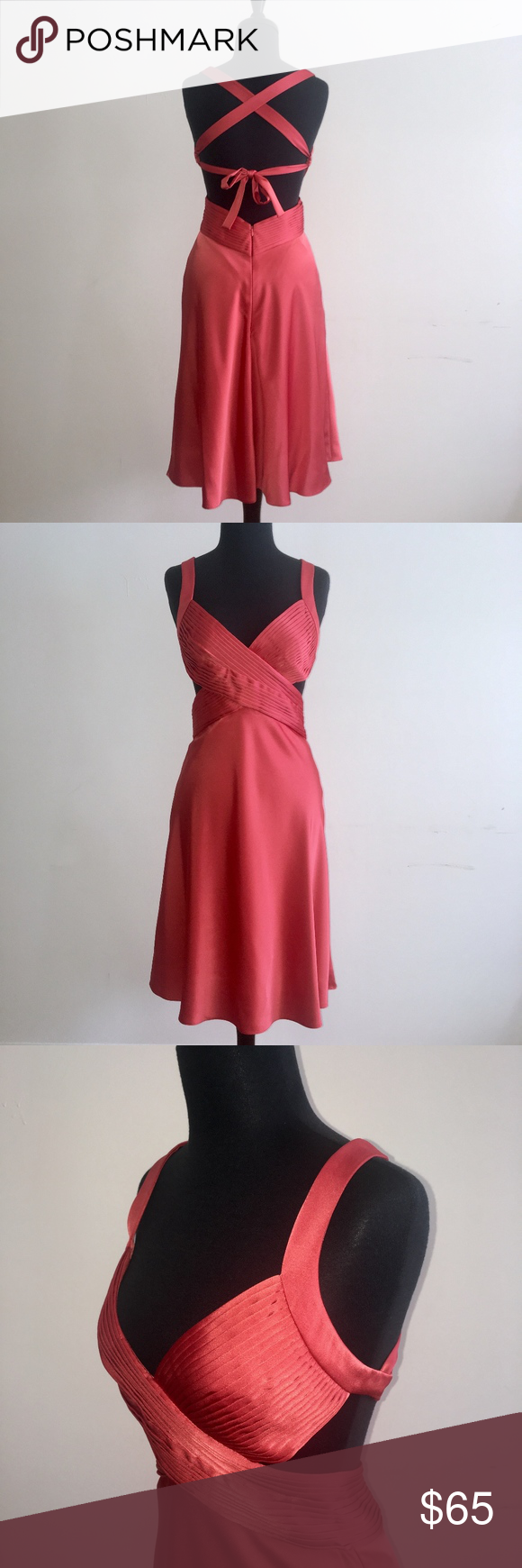 BCBGMaxAzria Coral Strappy Cocktail Dress Simply stunning and so difficult to part with! This BCBGMaxAzria cocktail dress is like no other! Pintuck detail across bust, side cutouts, and open back with crisscross strap design. 100% polyester with satin finish. Color is a deep coral. Worn once. In excellent condition. BCBGMaxAzria Dresses #backlesscocktaildress BCBGMaxAzria Coral Strappy Cocktail Dress Simply stunning and so difficult to part with! This BCBGMaxAzria cocktail dress is like no other #backlesscocktaildress