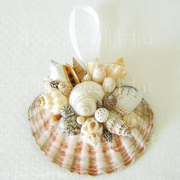 Seashell christmas scallop ornament party tropical beach for Seashell ornament ideas
