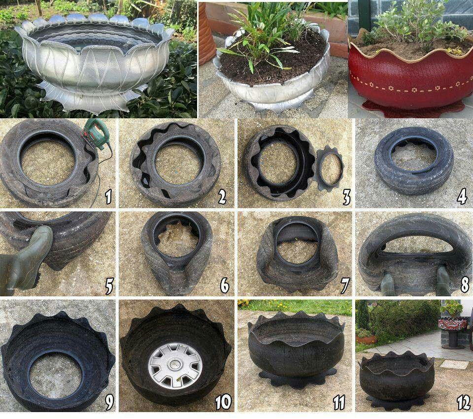 Old Tire Flower Pot Flower Planters Diy Tire Garden Diy Planters