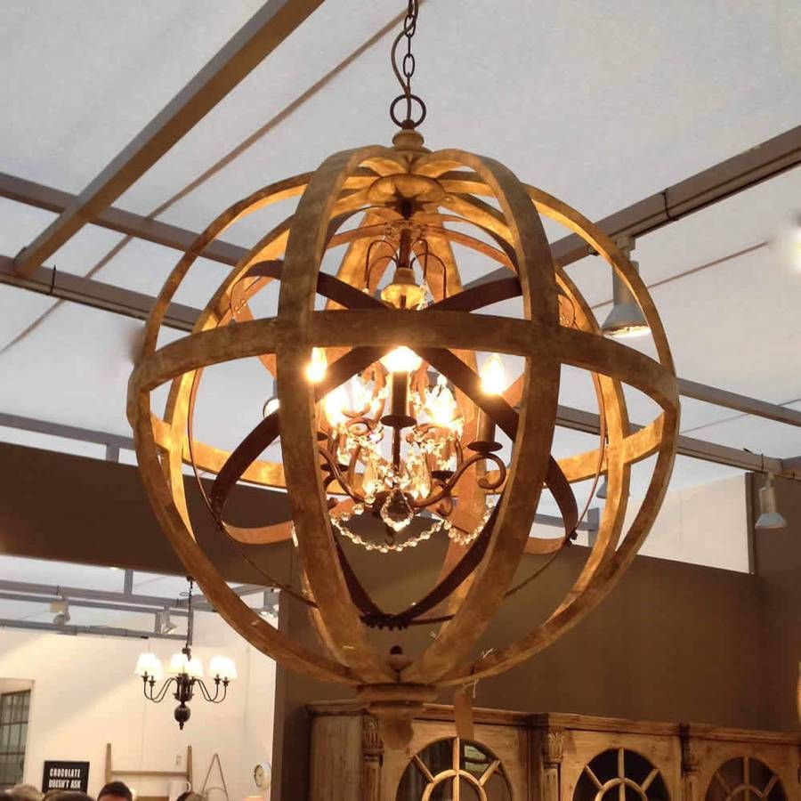 Nice wood orb chandelier for placed modern middle room for Wood pendant chandelier