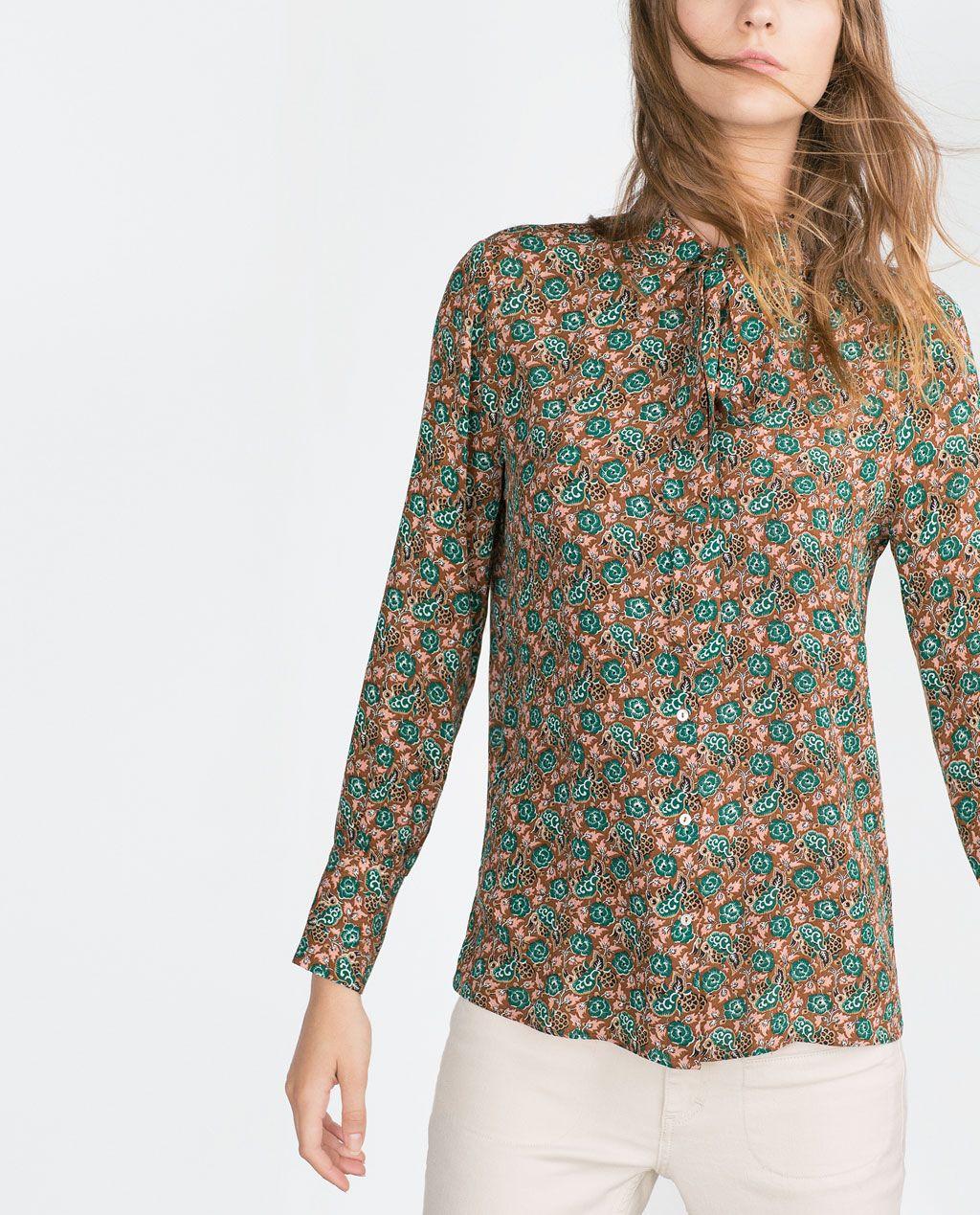 Mujer Blusas España Zara Camisas Estampada Camisa ftxqFpBp