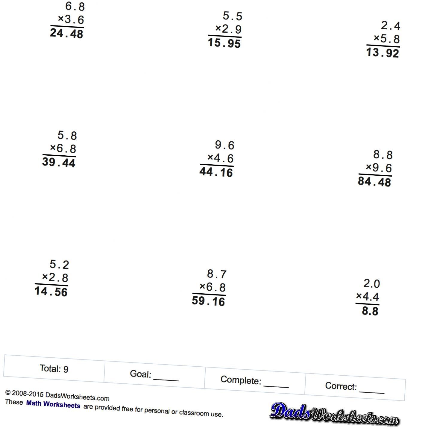 Math Worksheets Multiplication Worksheets With Decimals