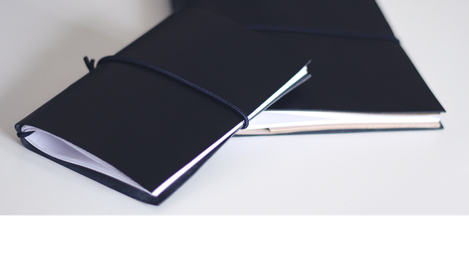 Handmade refillable notebooks. Created using high quality soft leather, non-photo blue paper grids, easily bound together.