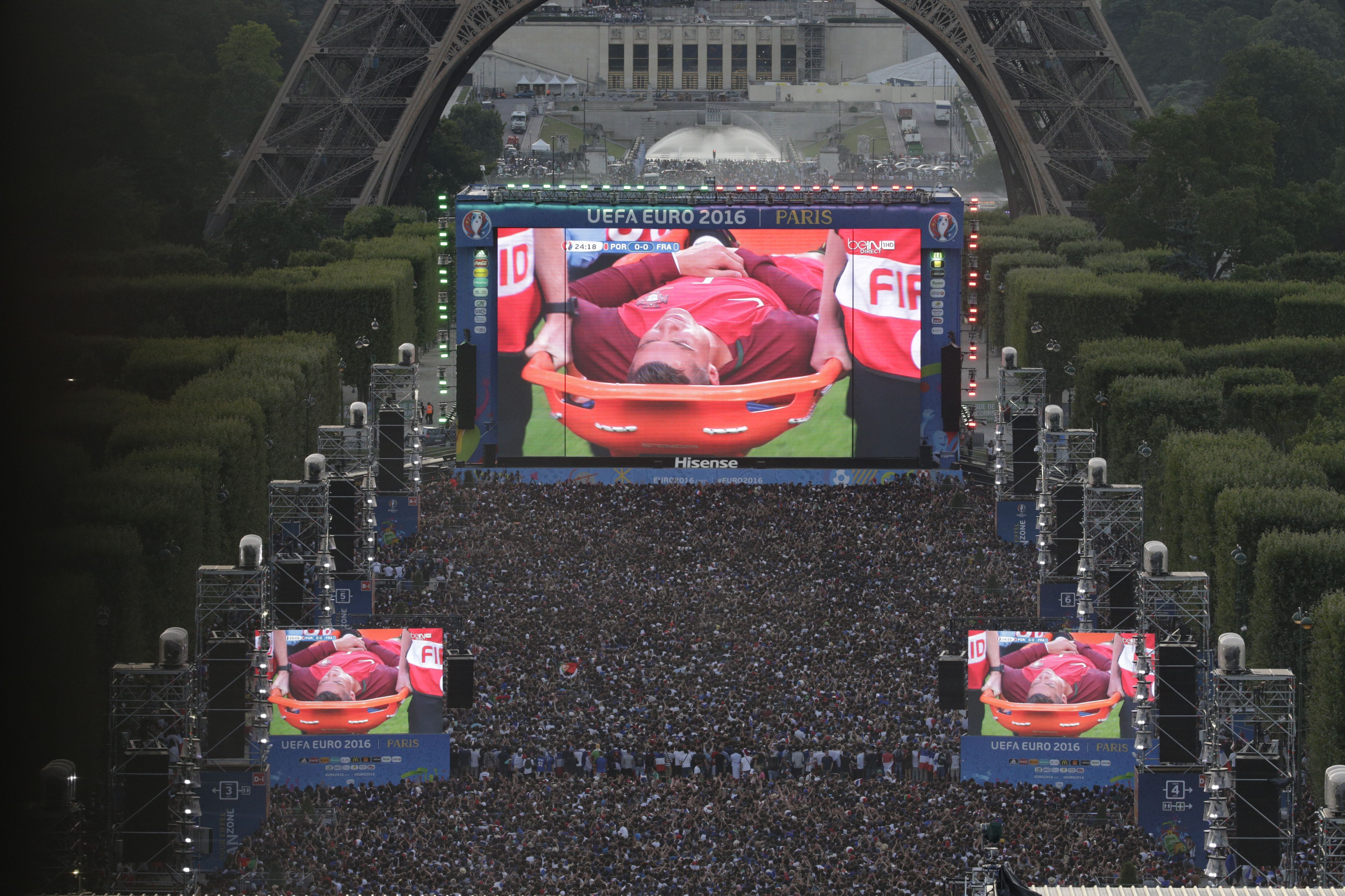 Best of 2016 People watch on a giant screen the Euro
