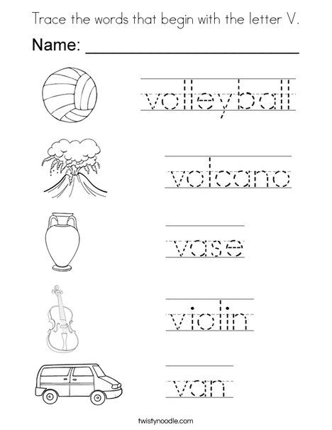 Trace The Words That Begin With The Letter V Coloring Page