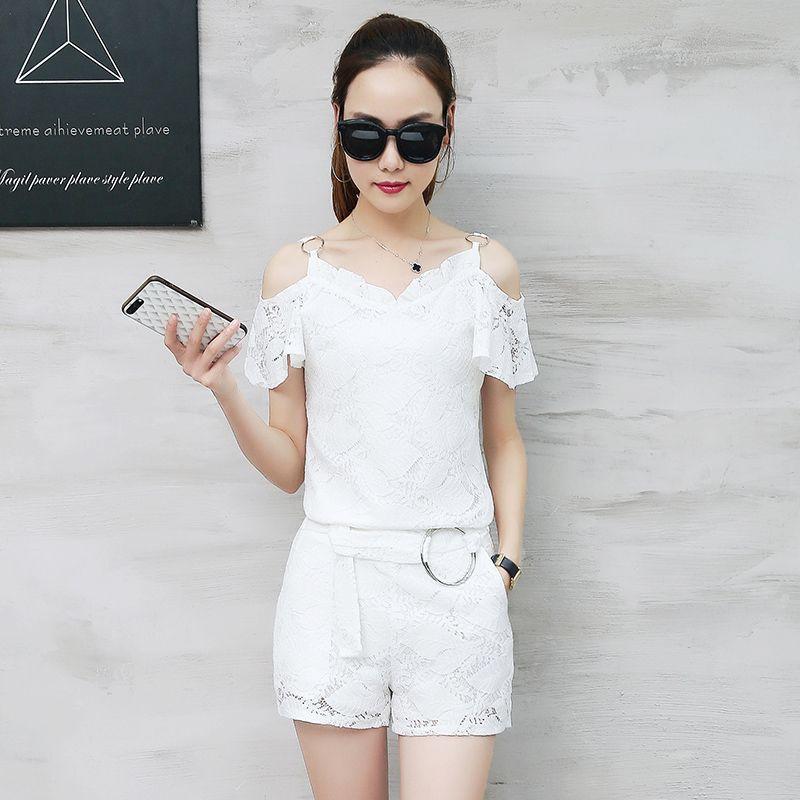 dc7c51fc8 [Free Shipping] Buy Best 2017 Summer Wear New Korean Fashion Sexy Lace  Shoulder Joker Short Pants Suit Women Shorts Clothing Set 2 Pcs White Black  S-XXL ...