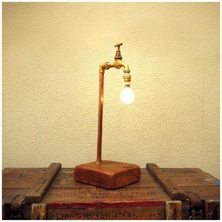 Lámpara De Sobremesa Grifo Antiguo Y Pie Madera Reciclada Dr únic Iluminación De Pared Lámparas De Mesa Rústicas Lampara Madera