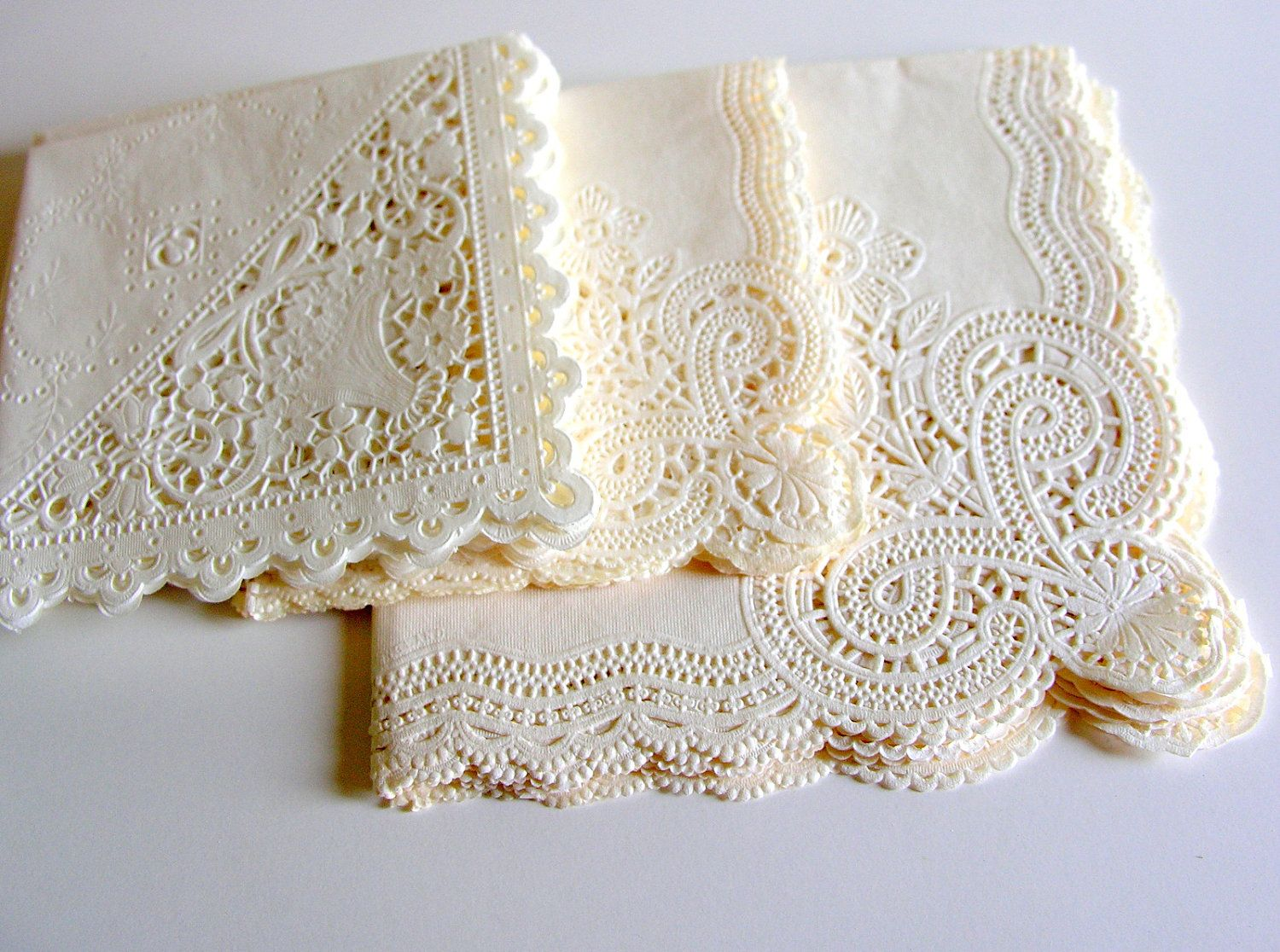 Vintage Paper Lace Napkins Large Lot Of 20 A Night To