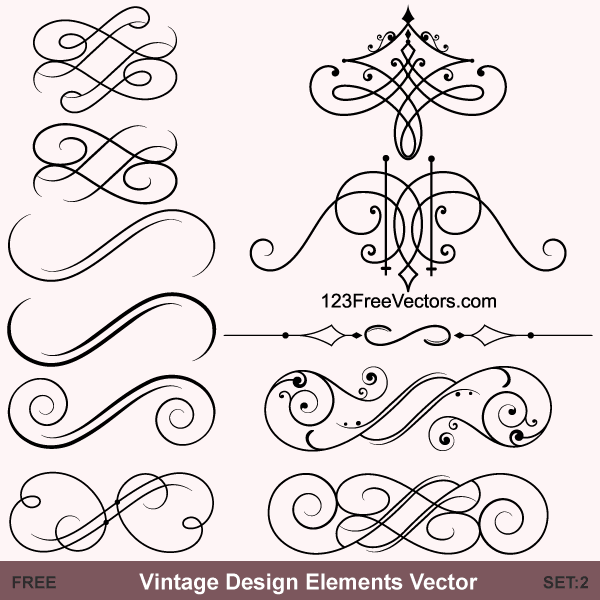 Set:2 - Download free Vintage Calligraphic Vector Ornaments and ...