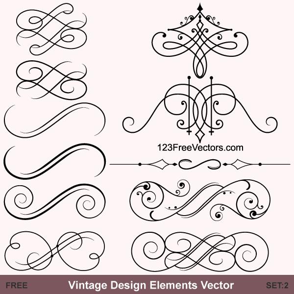 Vintage Calligraphic Vector Ornaments Free Vector Ornaments Vector Free Free Vector Graphics