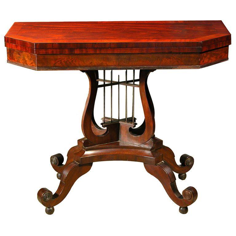 Classical Mahogany Crossed Lyre Card Table, Philadelphia