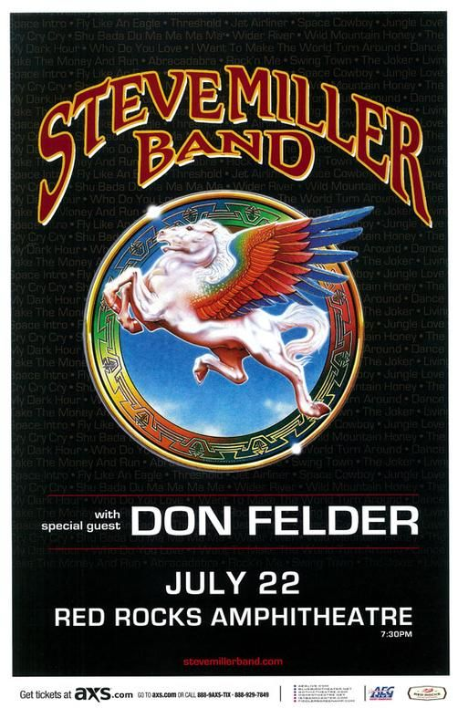 Steve Miller Band Don Felder Red Rocks 2015 Steve Miller Band Rock Album Covers Concert Posters