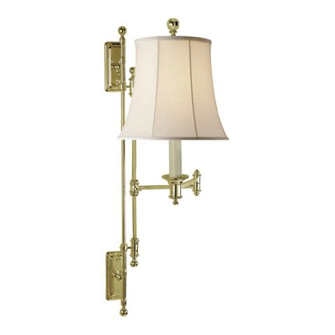 Kerry Swing Arm Wall Lamp In Natural Brass Wall Lamps Sconces