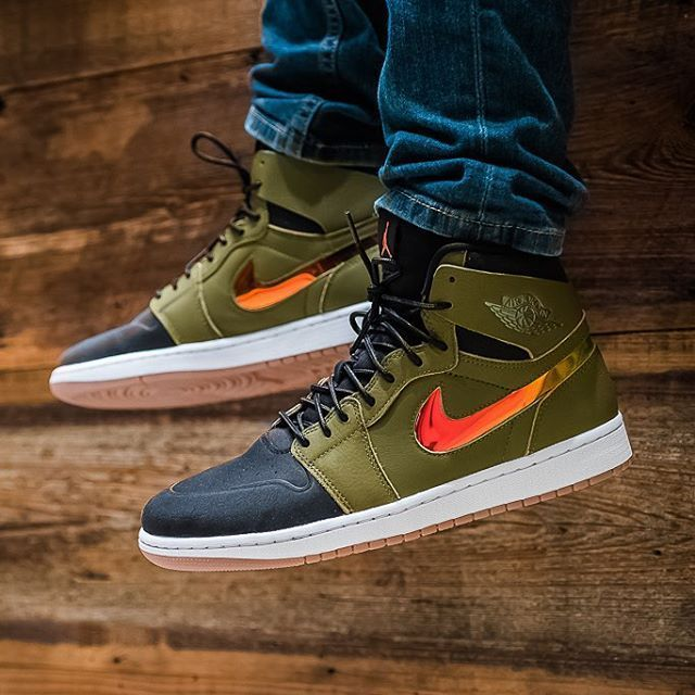 Air Jordan 1 Retro High Nouveau Olive Orange  4979deaa0e0b