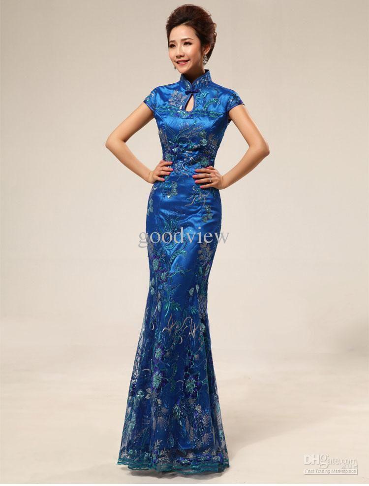 fee3a6e9824 Wholesale Wedding Dress - Buy New Design Elegant Chinese Mermaid Cheongsam  Embroidery Bridal Wedding Party Toast Dress Rose Blue Purple Cheo.