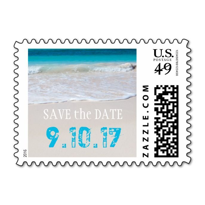 Tropical Beach Wedding Save the Date Postage Destination wedding