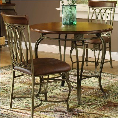 Hillsdale Montello Dining-Chairs, Set of 2 with Brown Faux Leather, Old Steel Finish by Hillsdale Furniture. $211.15. Old steel finish. Finished in a dynamic old steel with distressed brown faux leather seats. A collection with grace, movement and elegance. Do not use wax or abrasive cleaners as they may damage the finish. Intricate complimentary castings and elegantly curved legs. Drama and style are defined in Hillsdale House's Montello dining chairs. Sweeping inte...