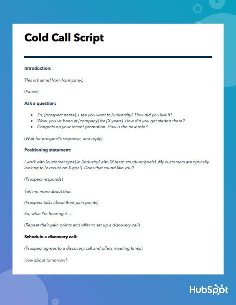 The Best Cold Call Script Ever Template Cold Calling Scripts