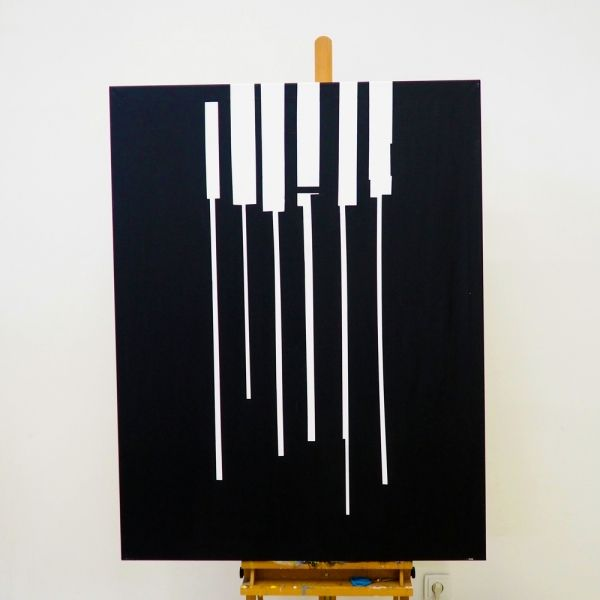Vertical minimalist black white painting