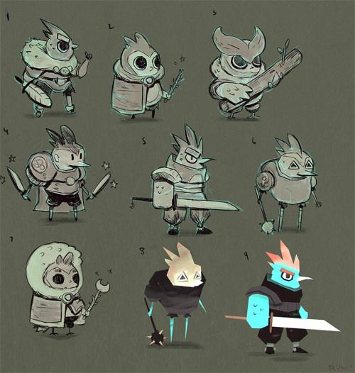 Some unused concepts for a bird character :) Warrior tweeter!