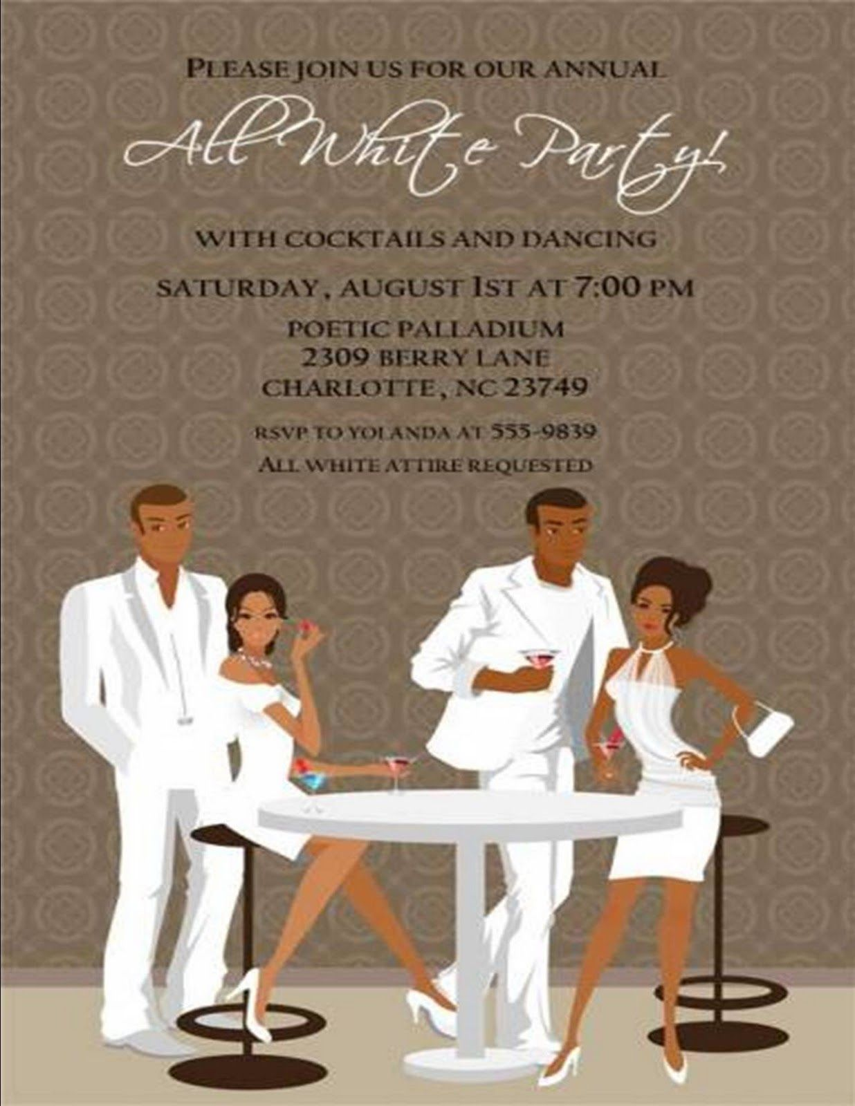 CoolNew Create Own All White Party Invitations Free Invitations - All white party invitations templates