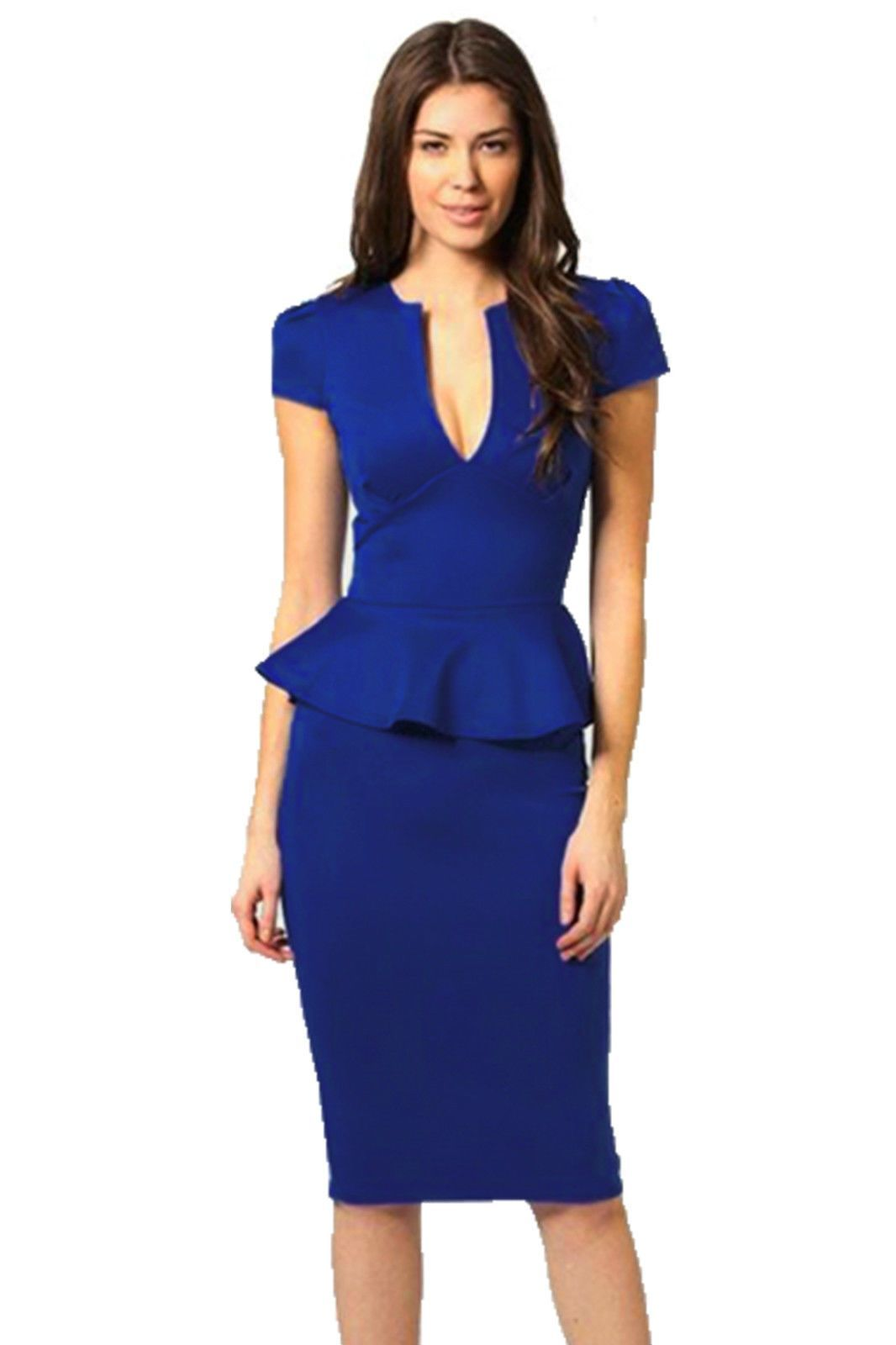 90cb7aa6e98 Lady Elegant Cap Sleeve V Neck Peplum Skirt Knee Length Women S Pencil Dress